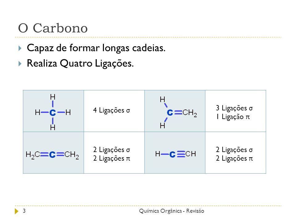 O Carbono Capaz de formar longas cadeias. Realiza Quatro Ligações. 4 Ligações σ 3 Ligações σ 1 Ligação π 2 Ligações σ 2 Ligações π 2 Ligações σ 2 Liga