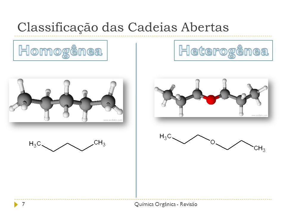 Classificação das Cadeias Abertas 8Química Orgânica - Revisão