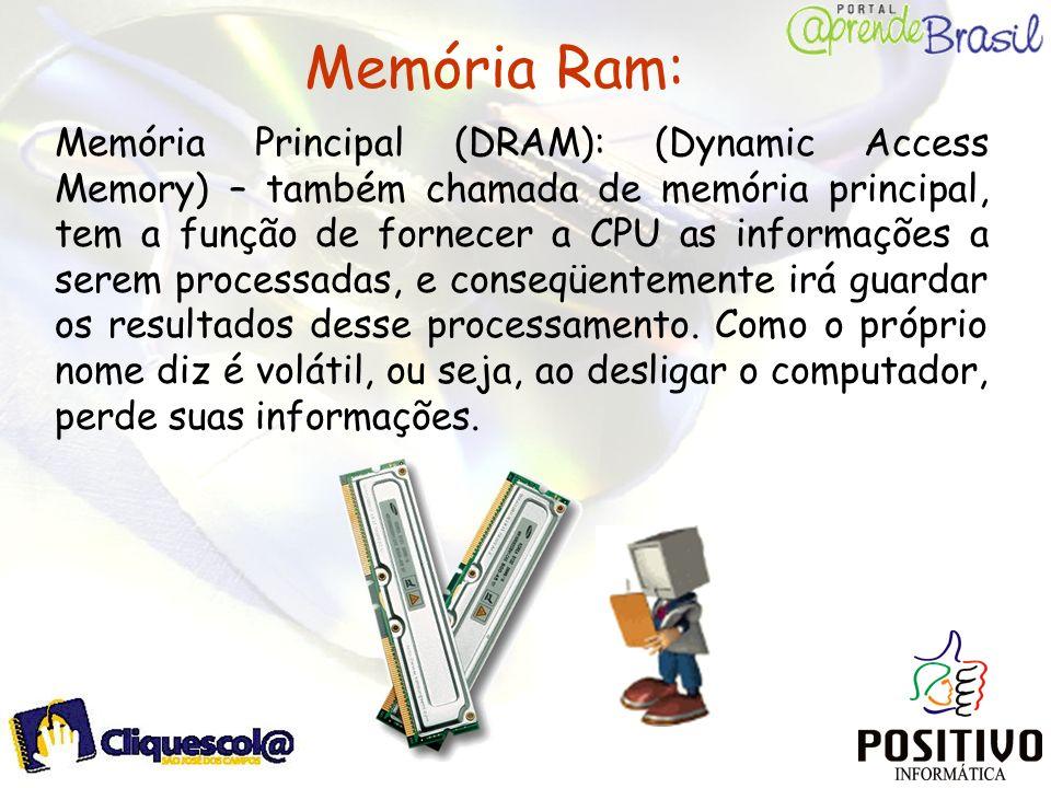 Memória Ram: Memória Principal (DRAM): (Dynamic Access Memory) – também chamada de memória principal, tem a função de fornecer a CPU as informações a