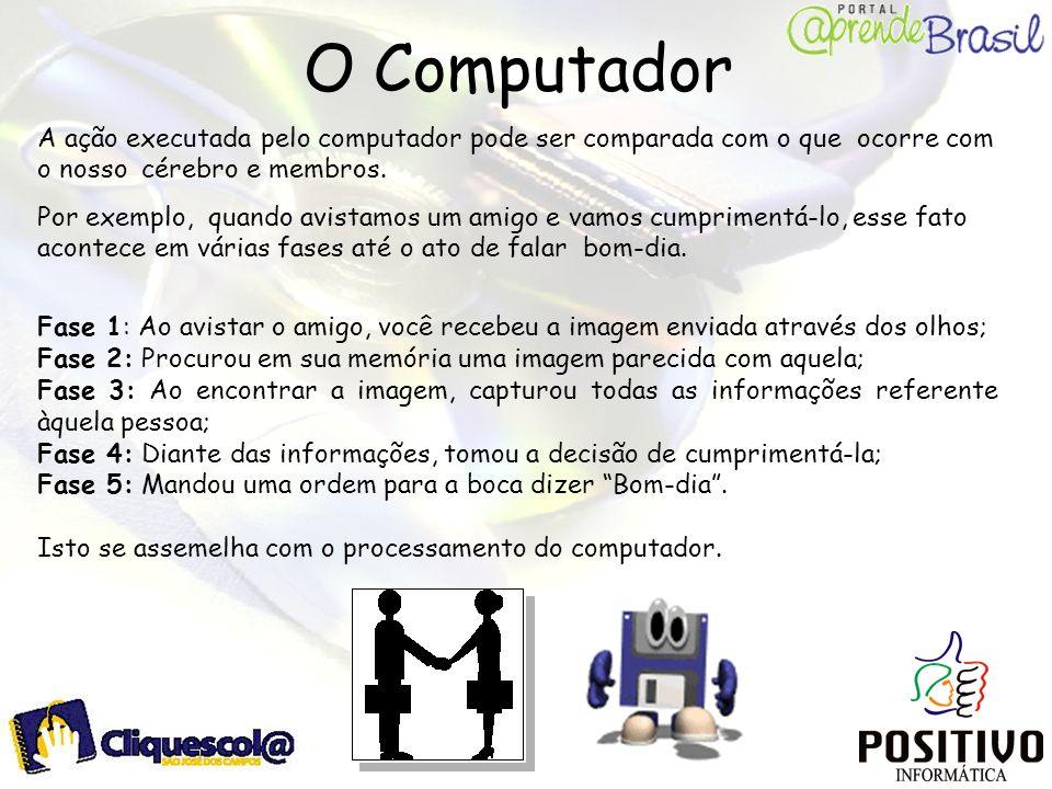 O Computador A ação executada pelo computador pode ser comparada com o que ocorre com o nosso cérebro e membros. Por exemplo, quando avistamos um amig