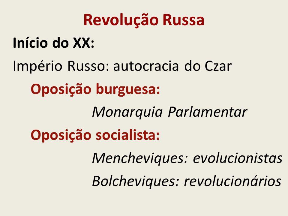 Revolução Russa Início do XX: Império Russo: autocracia do Czar Oposição burguesa: Monarquia Parlamentar Oposição socialista: Mencheviques: evolucioni