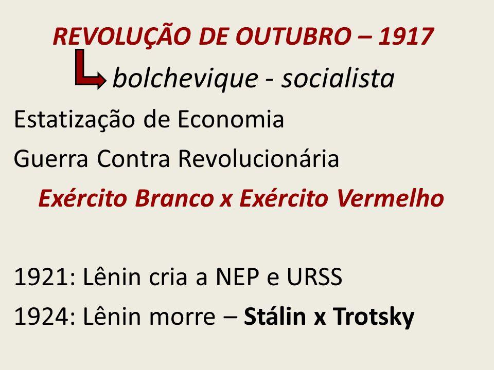REVOLUÇÃO DE OUTUBRO – 1917 bolchevique - socialista Estatização de Economia Guerra Contra Revolucionária Exército Branco x Exército Vermelho 1921: Lê