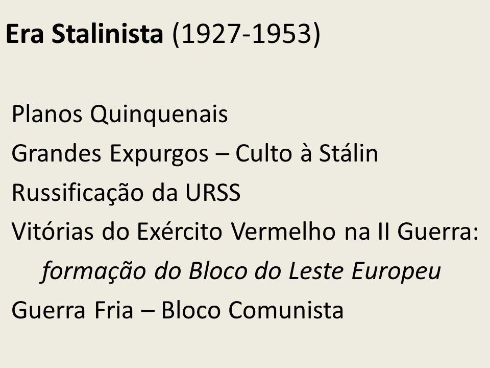 Era Stalinista (1927-1953) Planos Quinquenais Grandes Expurgos – Culto à Stálin Russificação da URSS Vitórias do Exército Vermelho na II Guerra: forma