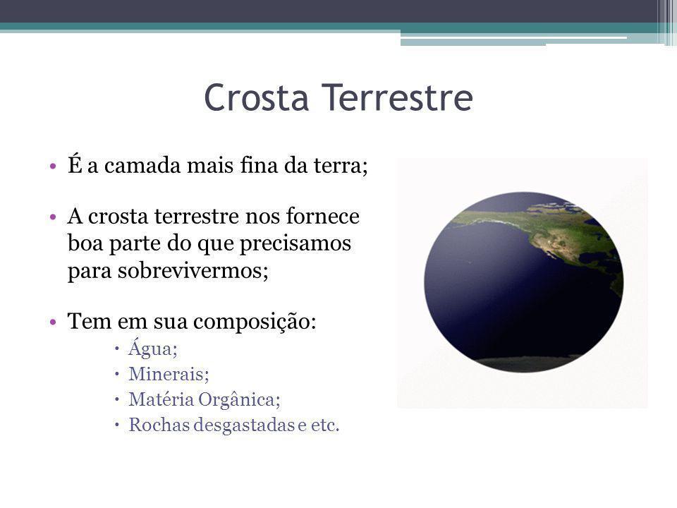 Crosta Terrestre É a camada mais fina da terra; A crosta terrestre nos fornece boa parte do que precisamos para sobrevivermos; Tem em sua composição: