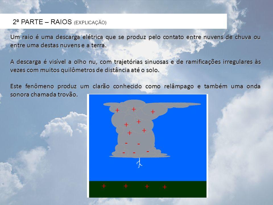 2ª PARTE – RAIOS (EXPLICAÇÃO) Um raio é uma descarga elétrica que se produz pelo contato entre nuvens de chuva ou entre uma destas nuvens e a terra. A