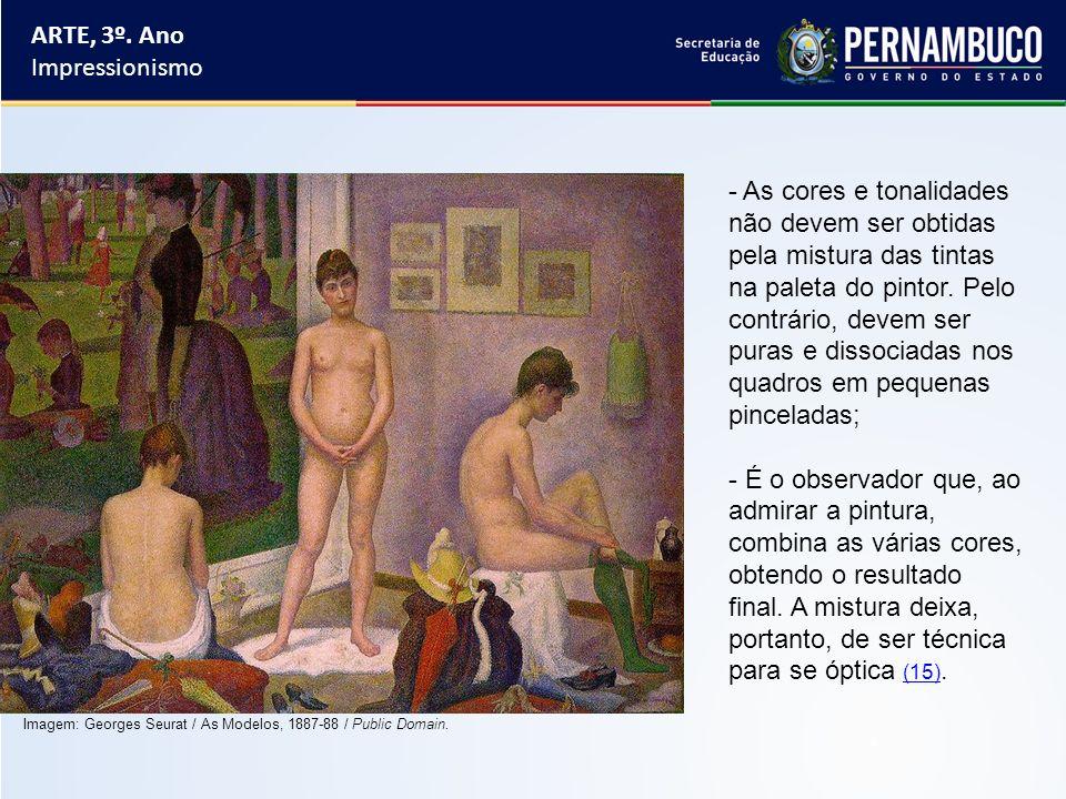 ARTE, 3º. Ano Impressionismo - As cores e tonalidades não devem ser obtidas pela mistura das tintas na paleta do pintor. Pelo contrário, devem ser pur