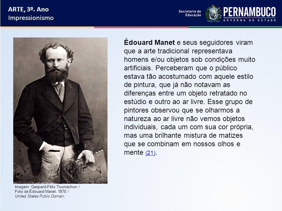 Imagem: Gaspard-Félix Tournachon / Foto de Édouard Manet, 1870 / United States Public Domain. Édouard Manet e seus seguidores viram que a arte tradici