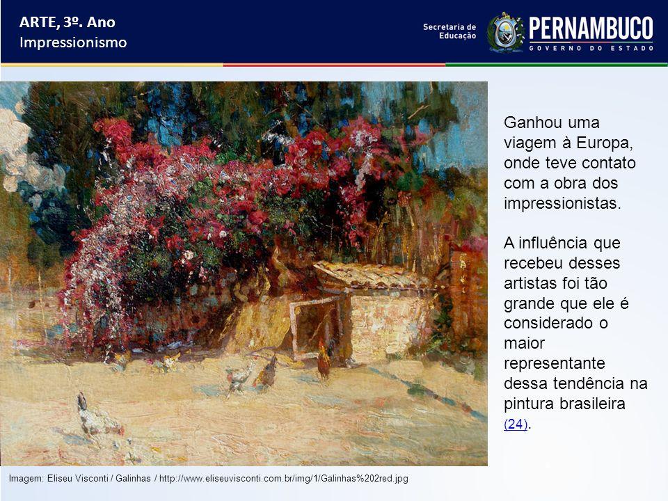ARTE, 3º. Ano Impressionismo Ganhou uma viagem à Europa, onde teve contato com a obra dos impressionistas. A influência que recebeu desses artistas fo