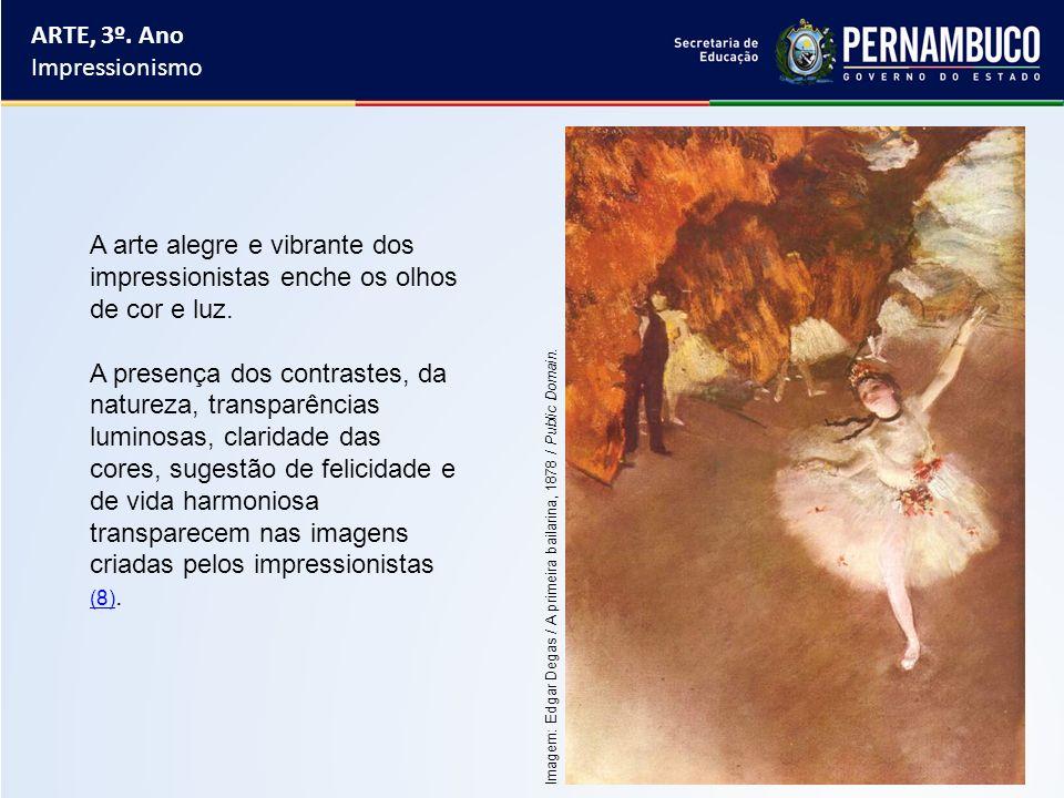 Principais pintores impressionistas brasileiros: Eliseu Visconti, Almeida Júnior, Timótheo da Costa, Henrique Cavaleiro e Vicente do Rego Monteiro.