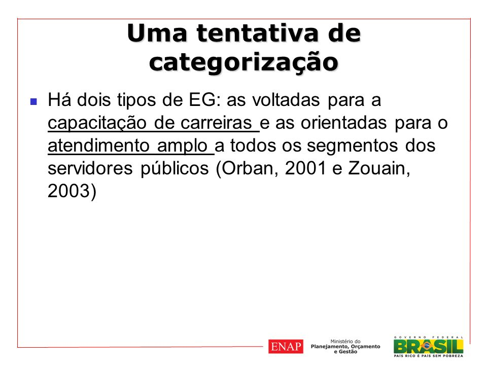 Uma tentativa de categorização Há dois tipos de EG: as voltadas para a capacitação de carreiras e as orientadas para o atendimento amplo a todos os segmentos dos servidores públicos (Orban, 2001 e Zouain, 2003)