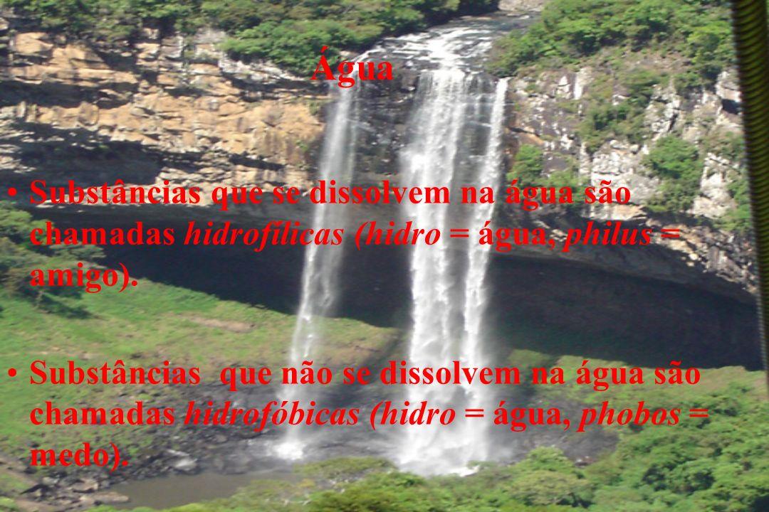 Água Substâncias que se dissolvem na água são chamadas hidrofílicas (hidro = água, philus = amigo). Substâncias que não se dissolvem na água são chama
