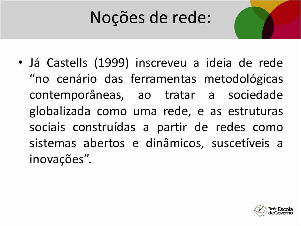 Noções de rede: Já Castells (1999) inscreveu a ideia de rede no cenário das ferramentas metodológicas contemporâneas, ao tratar a sociedade globalizad