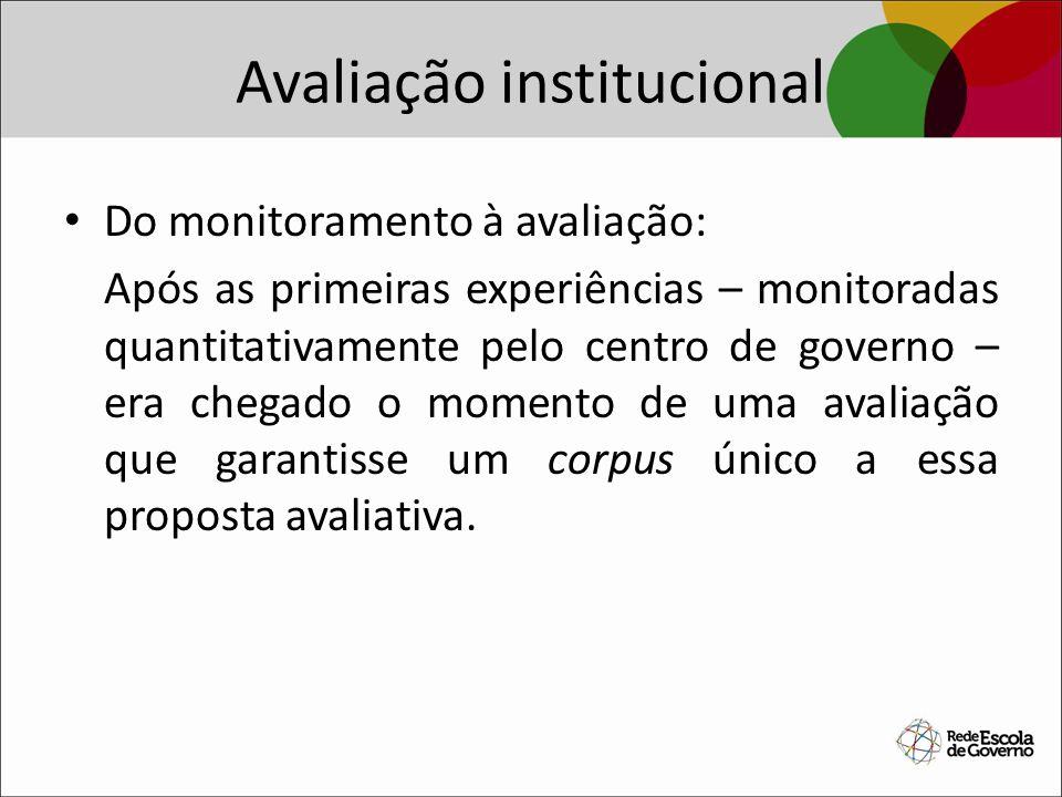 Avaliação institucional Do monitoramento à avaliação: Após as primeiras experiências – monitoradas quantitativamente pelo centro de governo – era cheg