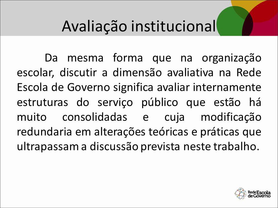 Avaliação institucional Da mesma forma que na organização escolar, discutir a dimensão avaliativa na Rede Escola de Governo significa avaliar internam
