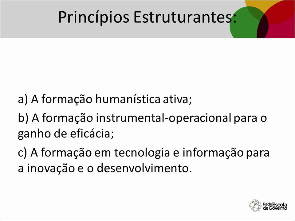 Princípios Estruturantes: a) A formação humanística ativa; b) A formação instrumental-operacional para o ganho de eficácia; c) A formação em tecnologi