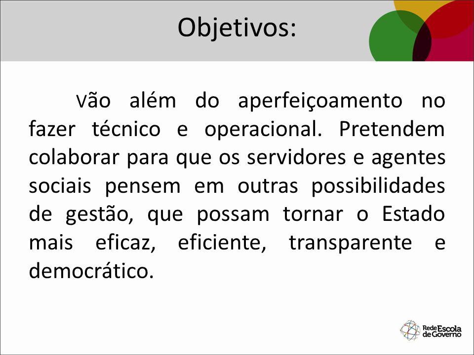 Objetivos: V ão além do aperfeiçoamento no fazer técnico e operacional. Pretendem colaborar para que os servidores e agentes sociais pensem em outras