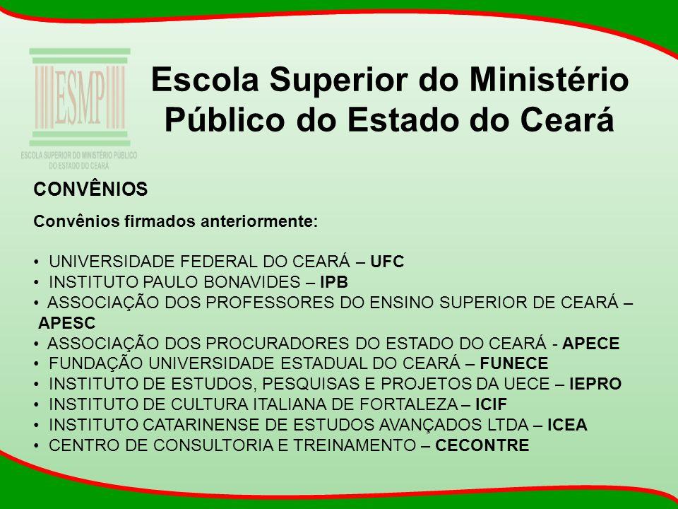Escola Superior do Ministério Público do Estado do Ceará CONVÊNIOS Convênios firmados anteriormente: UNIVERSIDADE FEDERAL DO CEARÁ – UFC INSTITUTO PAU