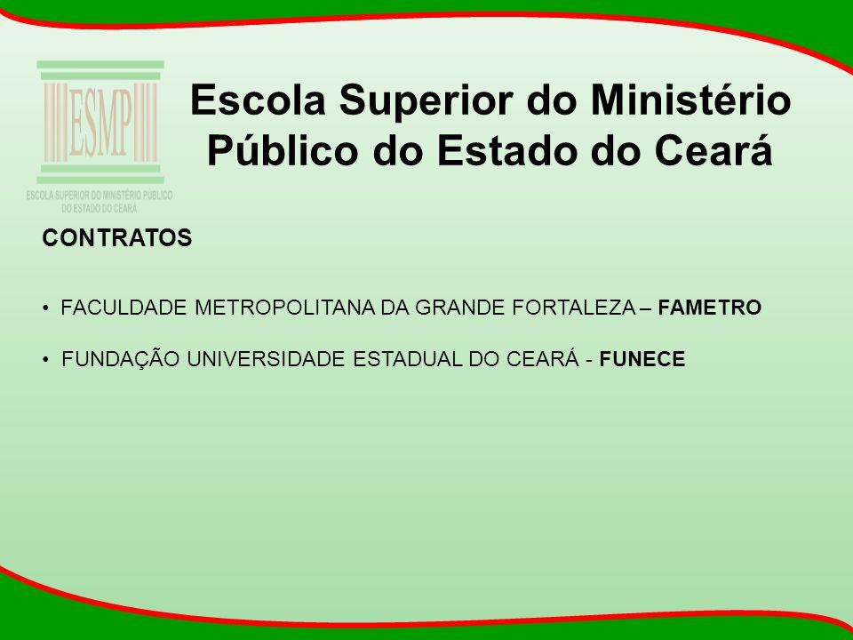 Escola Superior do Ministério Público do Estado do Ceará CONTRATOS FACULDADE METROPOLITANA DA GRANDE FORTALEZA – FAMETRO FUNDAÇÃO UNIVERSIDADE ESTADUA