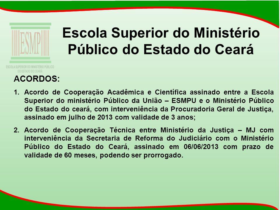 Escola Superior do Ministério Público do Estado do Ceará ACORDOS: 1.Acordo de Cooperação Acadêmica e Científica assinado entre a Escola Superior do mi