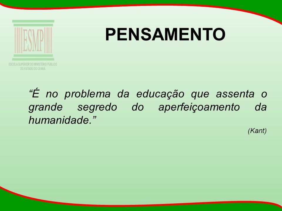 PENSAMENTO É no problema da educação que assenta o grande segredo do aperfeiçoamento da humanidade. (Kant)