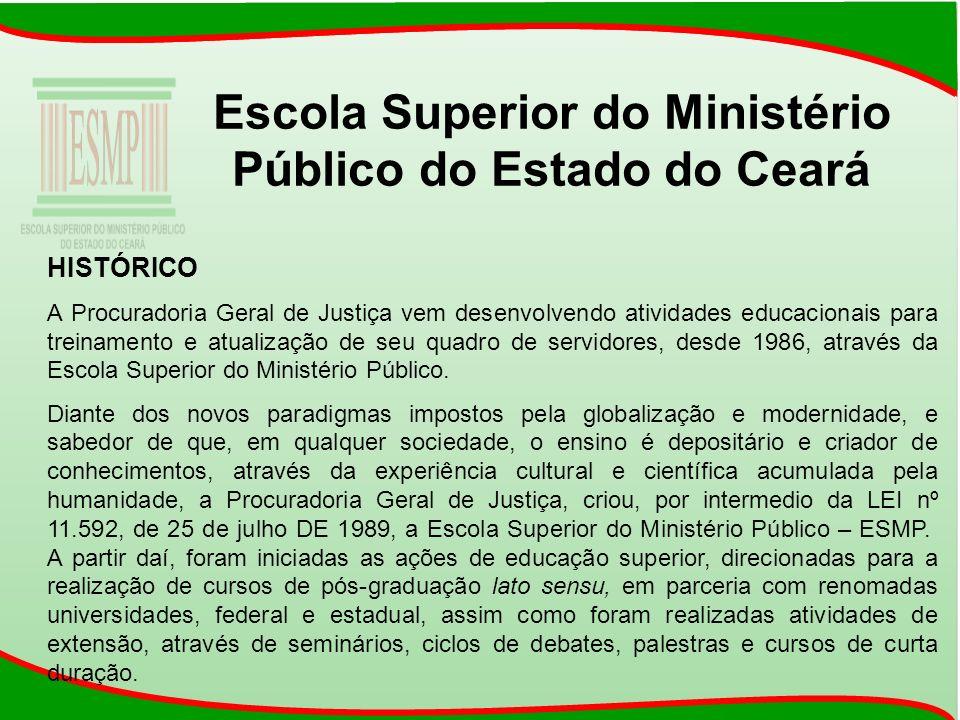 Escola Superior do Ministério Público do Estado do Ceará HISTÓRICO A Procuradoria Geral de Justiça vem desenvolvendo atividades educacionais para trei