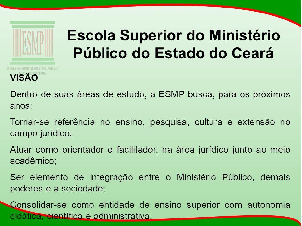 Escola Superior do Ministério Público do Estado do Ceará VISÃO Dentro de suas áreas de estudo, a ESMP busca, para os próximos anos: Tornar-se referênc