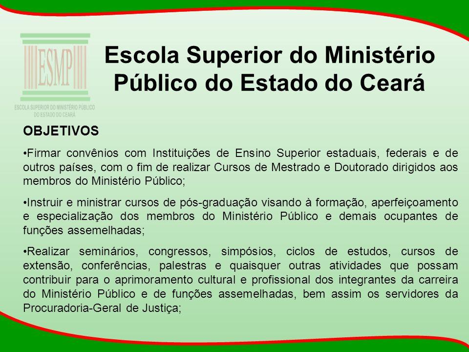 Escola Superior do Ministério Público do Estado do Ceará OBJETIVOS Firmar convênios com Instituições de Ensino Superior estaduais, federais e de outro