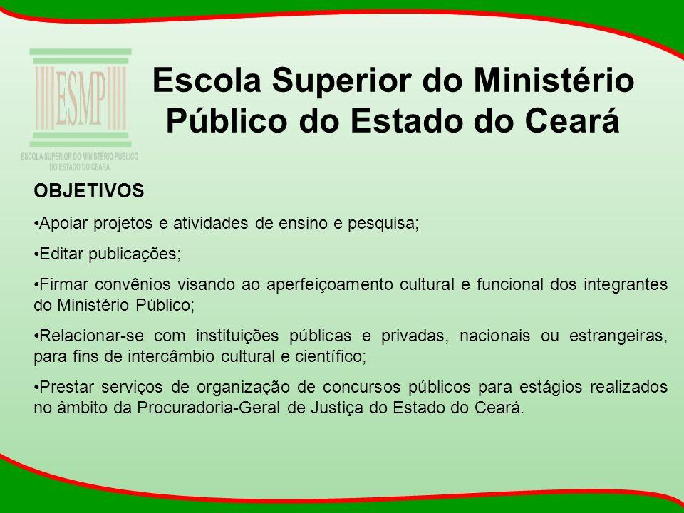Escola Superior do Ministério Público do Estado do Ceará OBJETIVOS Apoiar projetos e atividades de ensino e pesquisa; Editar publicações; Firmar convê