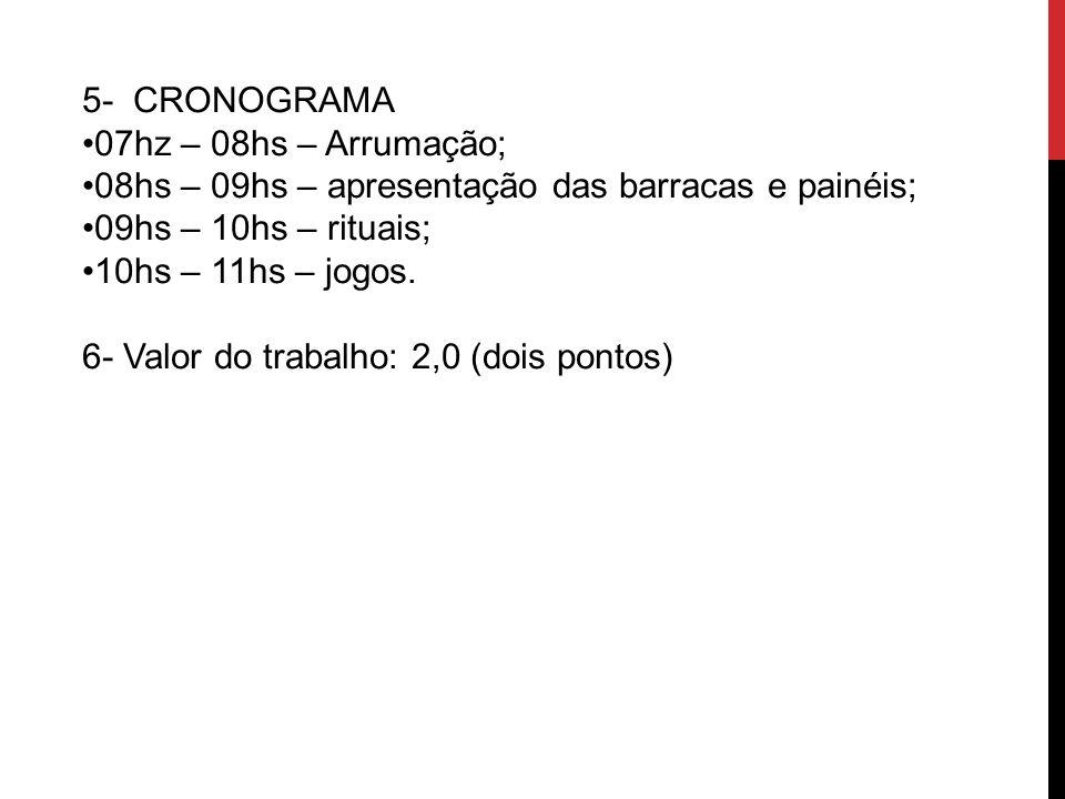 5- CRONOGRAMA 07hz – 08hs – Arrumação; 08hs – 09hs – apresentação das barracas e painéis; 09hs – 10hs – rituais; 10hs – 11hs – jogos. 6- Valor do trab
