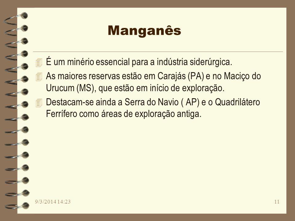 Manganês 4 É um minério essencial para a indústria siderúrgica. 4 As maiores reservas estão em Carajás (PA) e no Maciço do Urucum (MS), que estão em i