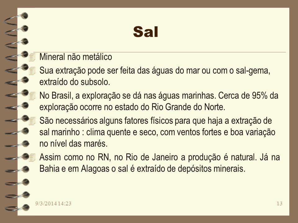 Sal 4 Mineral não metálico 4 Sua extração pode ser feita das águas do mar ou com o sal-gema, extraído do subsolo. 4 No Brasil, a exploração se dá nas