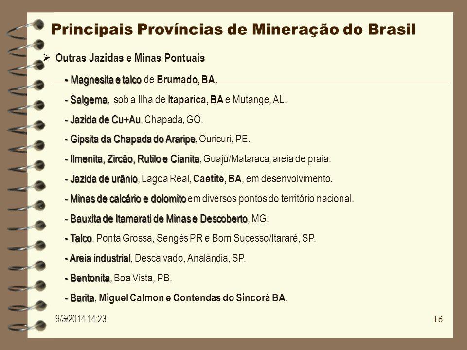 Principais Províncias de Mineração do Brasil Outras Jazidas e Minas Pontuais - Magnesita e talco - Magnesita e talco de Brumado, BA. - Salgema - Salge