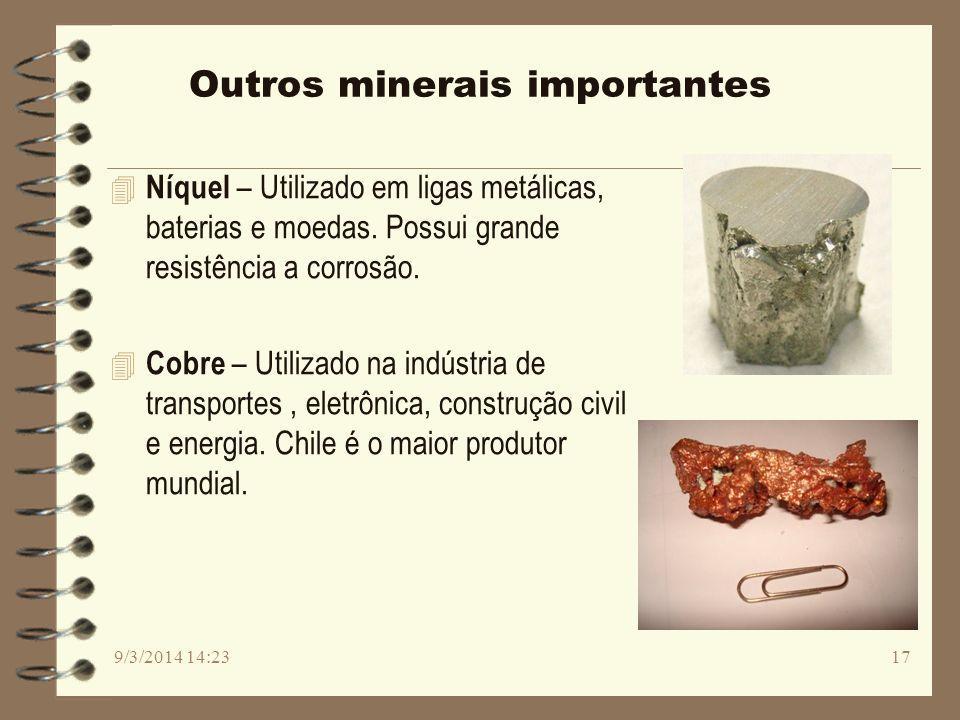 Outros minerais importantes 4 Níquel – Utilizado em ligas metálicas, baterias e moedas. Possui grande resistência a corrosão. 4 Cobre – Utilizado na i