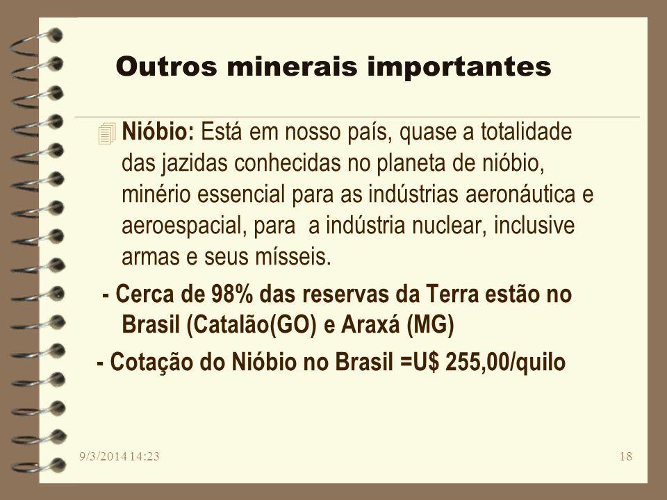 Outros minerais importantes 4 Nióbio: Está em nosso país, quase a totalidade das jazidas conhecidas no planeta de nióbio, minério essencial para as in