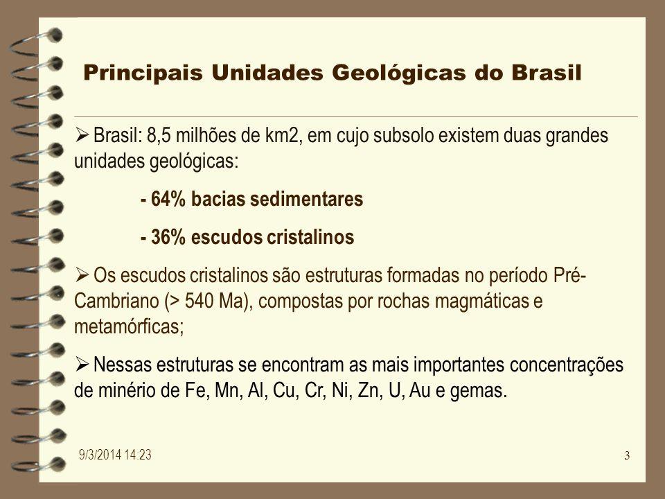 Principais Unidades Geológicas do Brasil Brasil: 8,5 milhões de km2, em cujo subsolo existem duas grandes unidades geológicas: - 64% bacias sedimentar