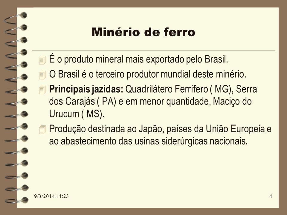 Minério de ferro 4 É o produto mineral mais exportado pelo Brasil. 4 O Brasil é o terceiro produtor mundial deste minério. 4 Principais jazidas: Quadr