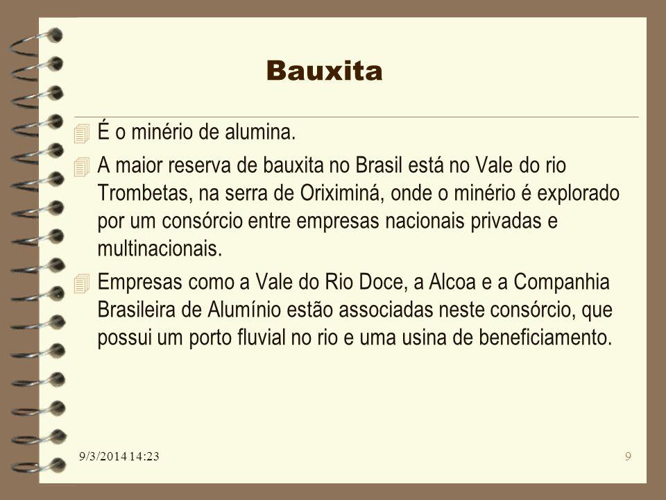 Bauxita 4 É o minério de alumina. 4 A maior reserva de bauxita no Brasil está no Vale do rio Trombetas, na serra de Oriximiná, onde o minério é explor