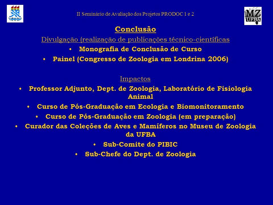 II Seminário de Avaliação dos Projetos PRODOC 1 e 2 Conclusão Divulgação (realização de publicações técnico-científicas Monografia de Conclusão de Cur