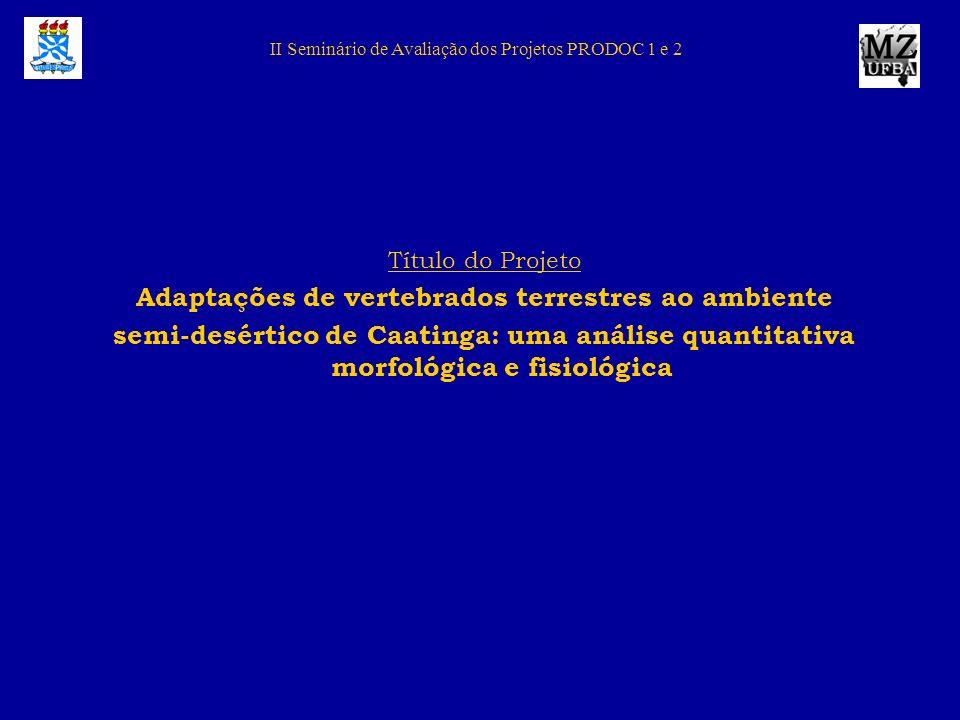 II Seminário de Avaliação dos Projetos PRODOC 1 e 2 Título do Projeto Adaptações de vertebrados terrestres ao ambiente semi-desértico de Caatinga: uma
