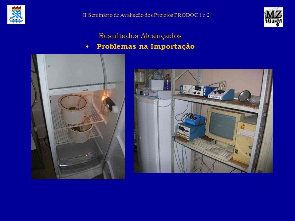 II Seminário de Avaliação dos Projetos PRODOC 1 e 2 Resultados Alcançados Problemas na Importação