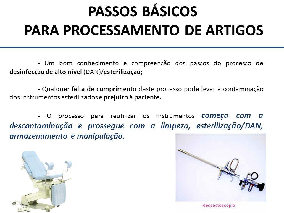 PASSOS BÁSICOS PARA PROCESSAMENTO DE ARTIGOS - Um bom conhecimento e compreensão dos passos do processo de desinfecção de alto nível (DAN)/esterilizaç