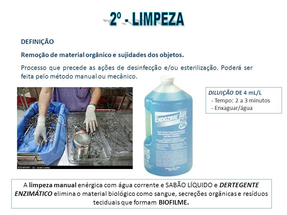 DEFINIÇÃO Remoção de material orgânico e sujidades dos objetos. Processo que precede as ações de desinfecção e/ou esterilização. Poderá ser feita pelo