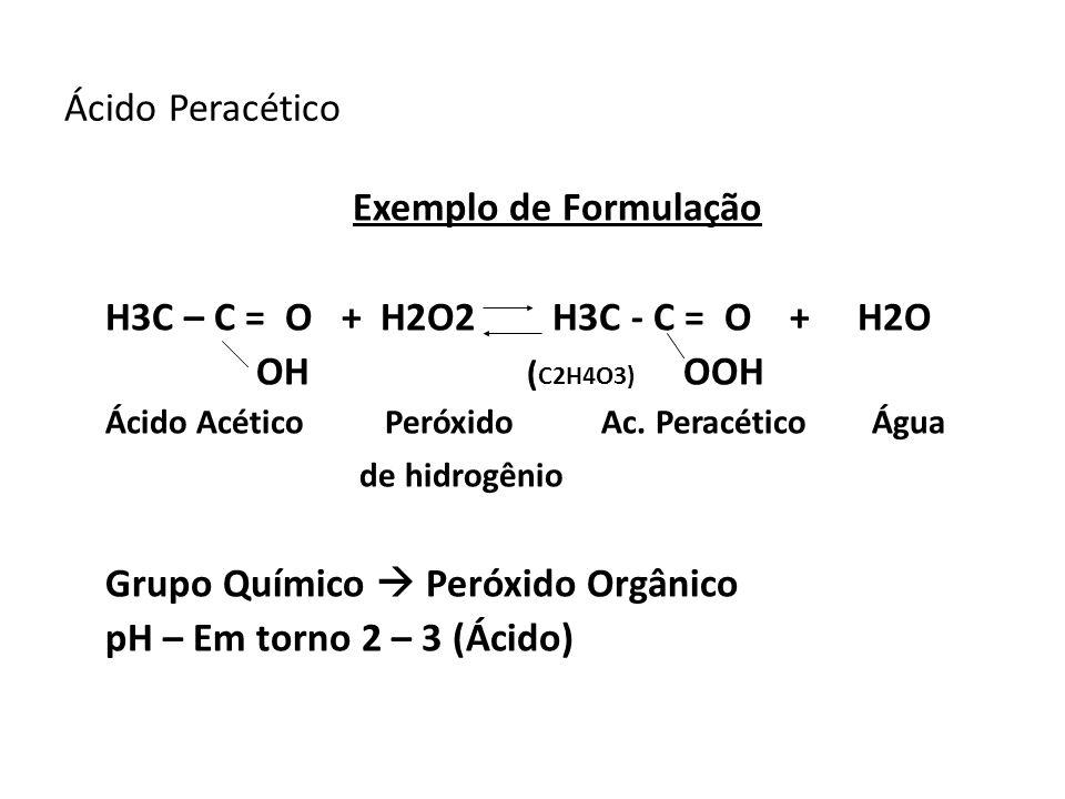Ácido Peracético Exemplo de Formulação H3C – C = O + H2O2 H3C - C = O + H2O OH ( C2H4O3) OOH Ácido Acético Peróxido Ac. Peracético Água de hidrogênio