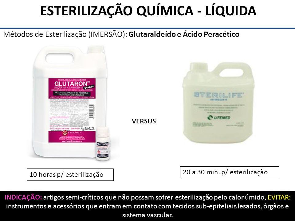 ESTERILIZAÇÃO QUÍMICA - LÍQUIDA Métodos de Esterilização (IMERSÃO): Glutaraldeído e Ácido Peracético VERSUS INDICAÇÃO: artigos semi-críticos que não p