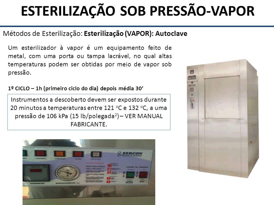 ESTERILIZAÇÃO SOB PRESSÃO-VAPOR Métodos de Esterilização: Esterilização (VAPOR): Autoclave Um esterilizador à vapor é um equipamento feito de metal, c