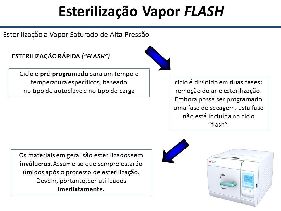Esterilização Vapor FLASH Esterilização a Vapor Saturado de Alta Pressão ESTERILIZAÇÃO RÁPIDA (FLASH) Ciclo é pré-programado para um tempo e temperatu