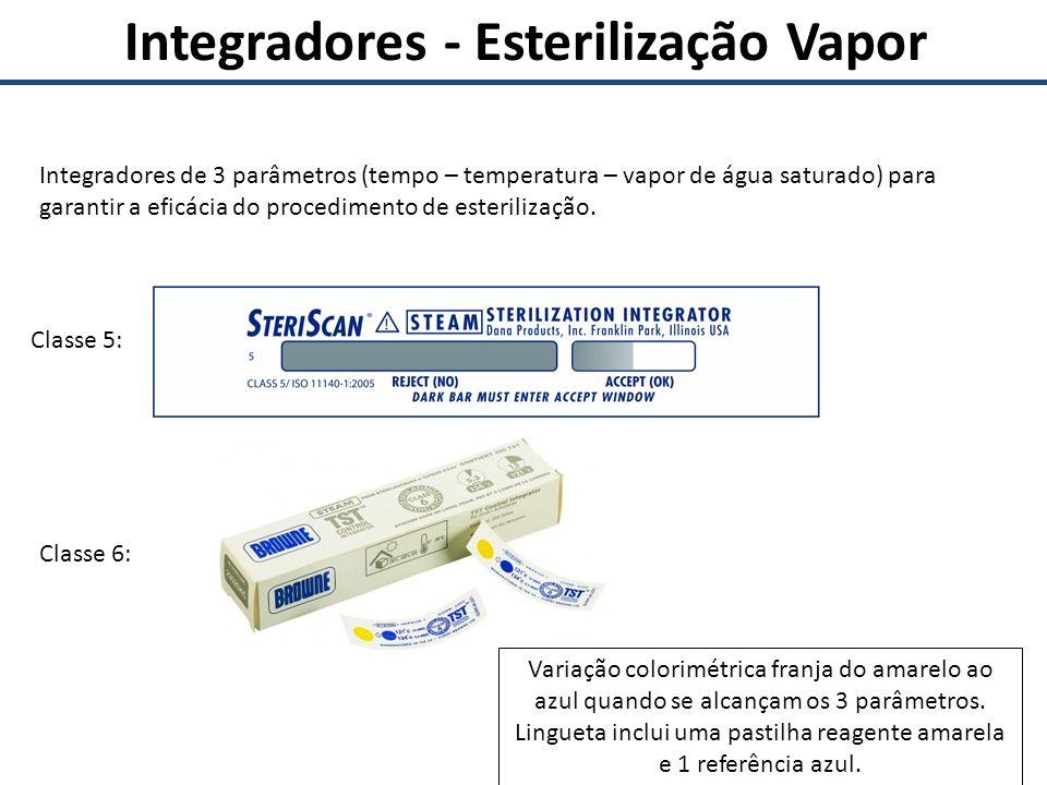 Integradores - Esterilização Vapor Integradores de 3 parâmetros (tempo – temperatura – vapor de água saturado) para garantir a eficácia do procediment