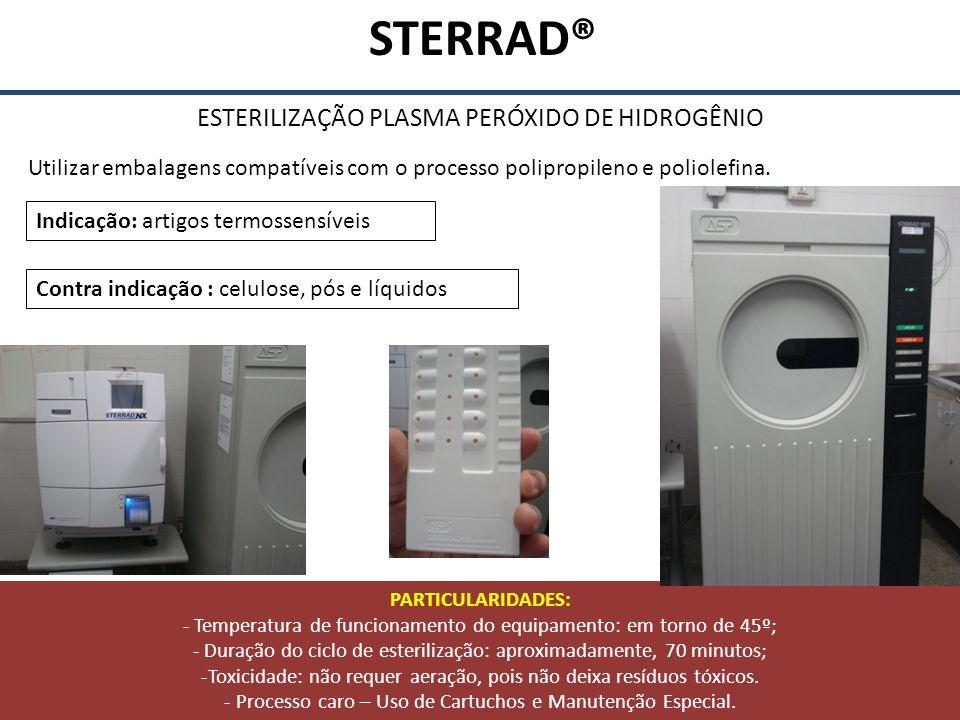 STERRAD® ESTERILIZAÇÃO PLASMA PERÓXIDO DE HIDROGÊNIO Utilizar embalagens compatíveis com o processo polipropileno e poliolefina. Contra indicação : ce