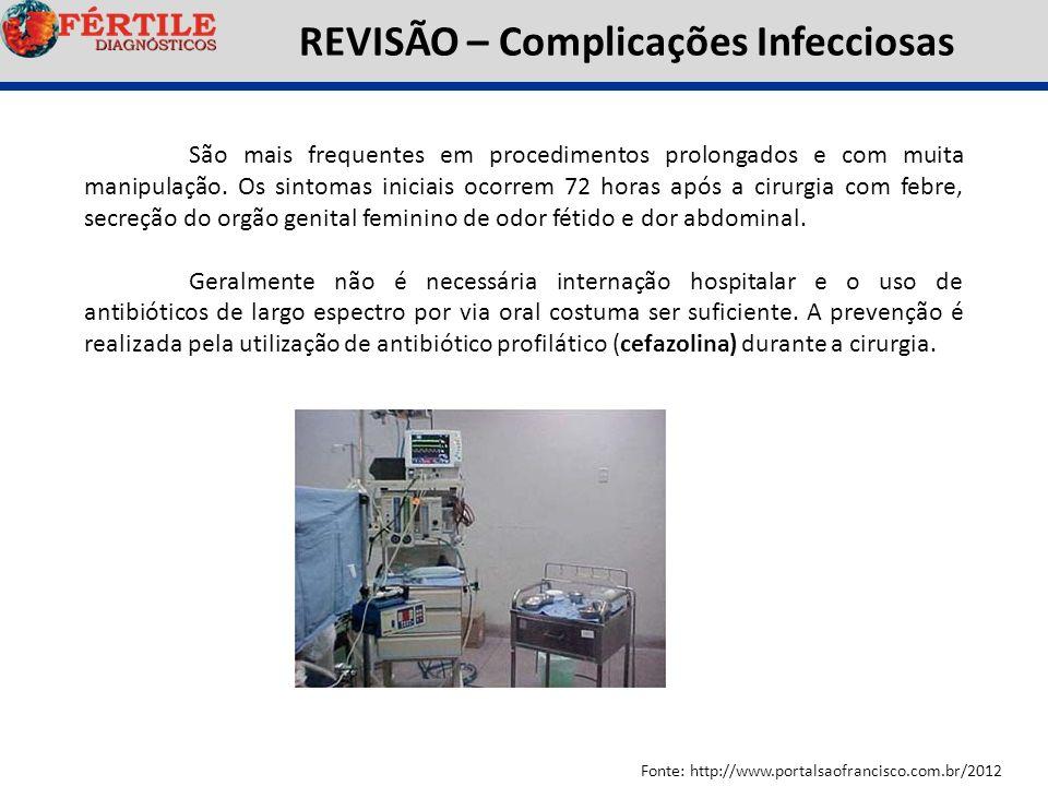 REVISÃO – Complicações Infecciosas Fonte: http://www.portalsaofrancisco.com.br/2012 São mais frequentes em procedimentos prolongados e com muita manip