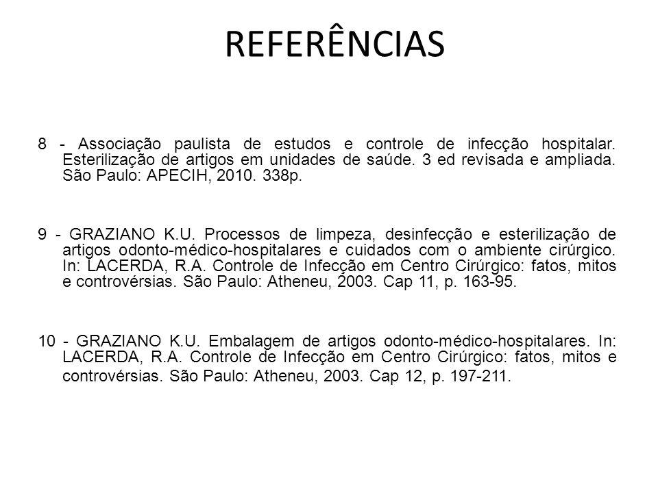 8 - Associação paulista de estudos e controle de infecção hospitalar. Esterilização de artigos em unidades de saúde. 3 ed revisada e ampliada. São Pau